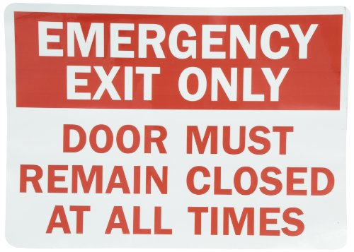 "SmartSign Adhesive Vinyl Label, Legend ""Emergency Exit Only Door Closed At All Times"", 10"" high x 14"" wide, Red on White"