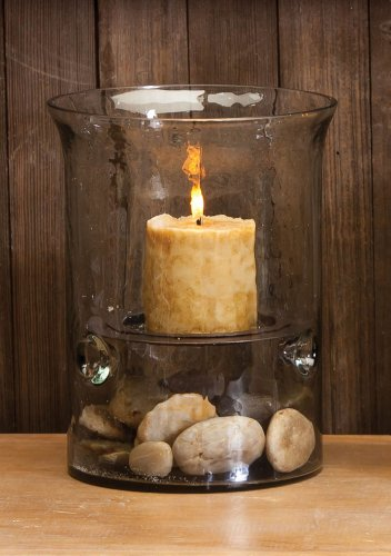 10″ Glass Cyclinder Candle Holder with Antique Brown Plate