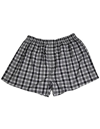 Private Label - Mens Big Plaid Broadcloth Sleep Short, Grey, Black 35463-Xxxx-Large