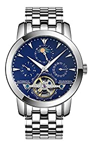 Fanmis Men Luminous Waterproof Automatic Mechanical Stainless Steel Watches Calendar Moon Phase Blue