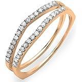 0.25 Carat (ctw) 10K Gold Round White Diamond Enhancer Guard Matching Wedding Chevron Ring Band 1/4 CT