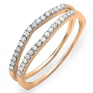 0.25 Carat (ctw) 14K Rose Gold Round Diamond Enhancer Guard Wedding Chevron Ring 1/4 CT (Size 4)