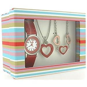 Montre, Pendentif et Bracelet à Coeurs de The Olivia Collection. Set Cadeau KS004