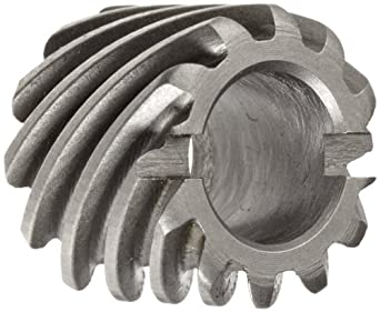 Boston Gear H2412L Plain Helical Gear, 45 Degree Helix, 14.5 Degree Pressure Angle, 0.250 Bore, 24 Pitch, 12 Teeth, Steel, LH