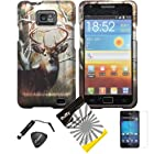 4 items Combo: Stylus Pen + Screen Protector Film + Case Opener + Wildlife Tree Deer Outdoor Camouflage Design Rubberized Snap on Hard Shell Cover Faceplate Skin Phone Case for Samsung Galaxy S2 / SII / II / 2 / SGH-i777 / i9100 (AT&T Version) / Straight Talk S959G