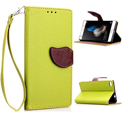 HUAWEI P8 lite 手帳型 カラフルレザーケース ( ファーウェイ 楽天モバイル SIMフリー 対応 ) 画面保護 / スタンド / ICカード収納 / ストラップホール Leaf Design TPU Case + ストラップセットGreen × Brown (緑&茶)