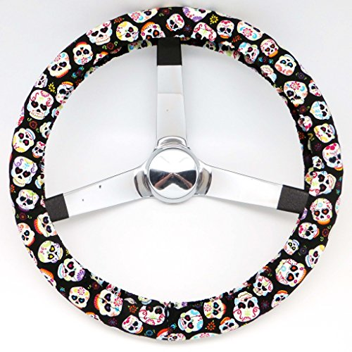 Mana Trading Handmade Steering Wheel Cover Mini Sugar Skulls (Steering Wheel Cover Sugar Skull compare prices)