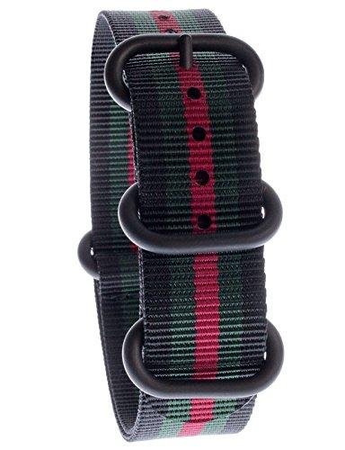 yves-camani-uni-radisson-montres-de-20-mm-de-bracelet-de-lotan-en-nylon-avec-noir-vert-rouge-neuf