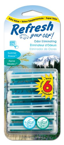 Refresh Your Car Odor Eliminating Auto Vent Stick Car and Home Air Freshener, Summer Breeze / Alpine Meadow Scent, 6 Sticks (Clip Air Freshener compare prices)