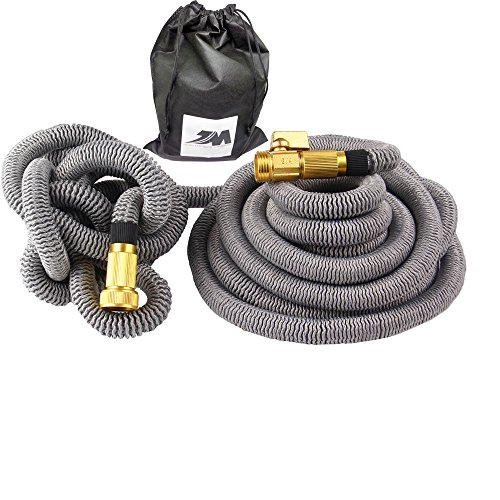[Newest Version] 50ft Expandable Hose , Strongest Expanding Garden Hose with Three Layer Latex Core, Solid Brass Connector and Extra Strength Fabric for Car Garden Hose Nozzle,Grey,Gray (Dual Flex Expandable Hose compare prices)