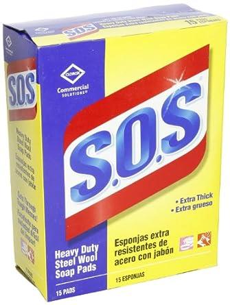 Clorox 88320 S.O.S Steel Wool Soap Pad, 15ct (Case of 12)