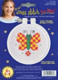 Janlynn 21-0981 Round Kid Stitch Checky Butterfly Mini Counted Cross Stitch Kit, 3-Inch