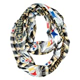 NFL Pittsburgh Steelers Sheer Infinity Plaid Scarf, One Size, Black