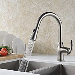 GICASA Pull-Out Single Handle Kitchen Sink Faucet,Spray Bar Faucets with Multi-Flow Toggle Switch