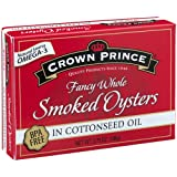 Crown Prince Smoked Oysters in Cottonseed Oil, 3.75 Ounce Cans (Pack of 18)