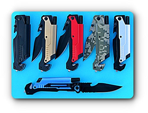 Grizzly Bone SK-61B Blue 6-in-1 Survival Tactical Pocket Folding Knife w/ Seatbelt Cutter, Glass Breaker, Fire Starter, LED Light &