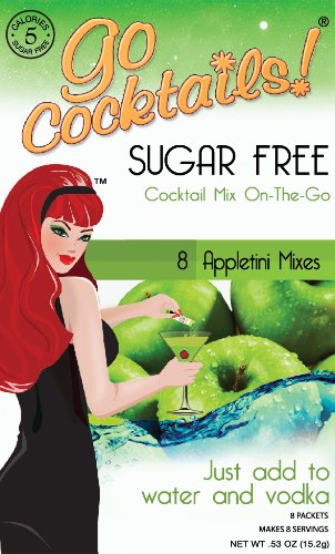 Go Cocktails! Sugar Free Appletini Cocktail Mix (Box of 8 Single Packets)