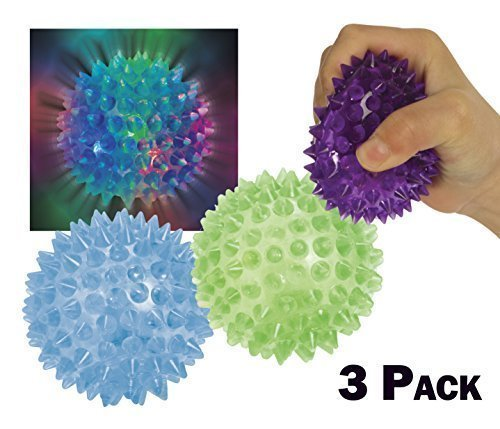 Check Out This Light Up Flashing Spiky Ball Bundle – Purple Blue Green 3 Pack