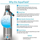 AquaFlask Insulated Double Wall Stainless Steel Water Bottle with Handle, 27-ounce