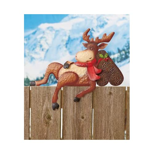 snowman holiday fence toppercheck price moose whimsical fence topper christmas winter holiday outdoor decor brand new
