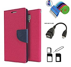 MAX JIO Mercury Diary Wallet Style Flip Cover Case for Micromax Canvas Spark Q380 (PINK) + Nano Sim Adapter + Micro USB OTG Cable + Micro USB Charging Cable Combo Set
