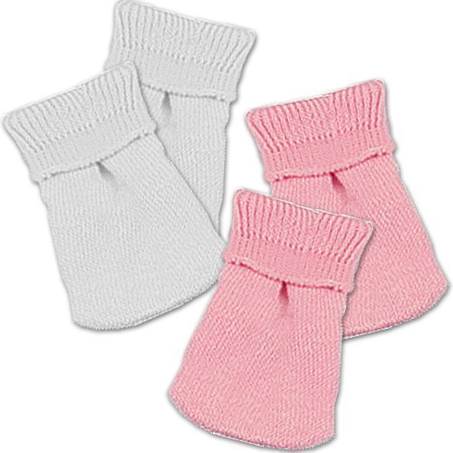 Fits 18 Inch American Girl Dolls, by Sophia's, 2 Pair Doll Sock Set of Pink & White Doll Socks