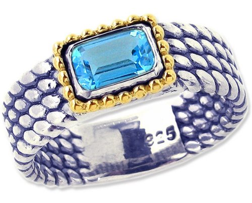 Sterling Silver and 14K Octagon Gemstone Full Bead-Detailed Ring-Swiss Blue Topaz-in full,half,quarter sizes from 5 to 9_7.5