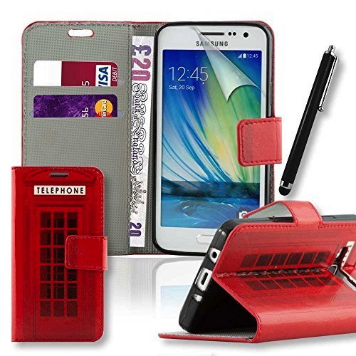 Connect Zone® Samsung Galaxy J3 (2016) Red Telephone Box Print Premium PU Leather Flip Wallet Case Cover Pouch + Screen Protector + Polishing Cloth And Tall Stylus