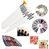 RUIMIO 15 Pcs Nail Art Brushes, 12 Colors Nail Art Stickers, 30 Colors Nail Tape And 3D Nail Art Manicure Wheel...