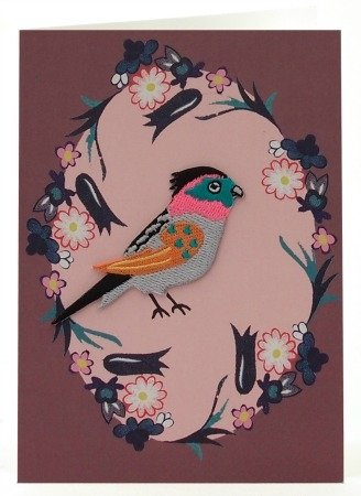 Petra Boase Embroidered Iron-On Bird Card - 6 front-590888
