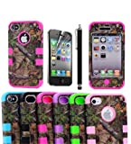 MOKOU Triple Layer Real Tree Camouflage Camo Hybrid High Impact Case Cover with Free Screen Protector+Stylus for Apple iPhone 4/4S Cases Covers (hot pink) Reviews