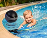 Ivation Waterproof Bluetooth Swimming Pool Floating Speaker - Music Amplifier Ball - With Cool Mood Lighting. Great for Pool and Bath - Black