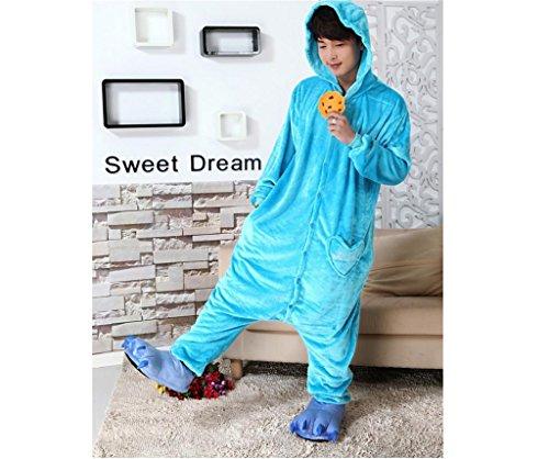 G&M Un pezzo pigiama di flanella amanti casa servizio pigiama adulto Unisex blu-rosso , blue sesame street , m (height 159-168cm)