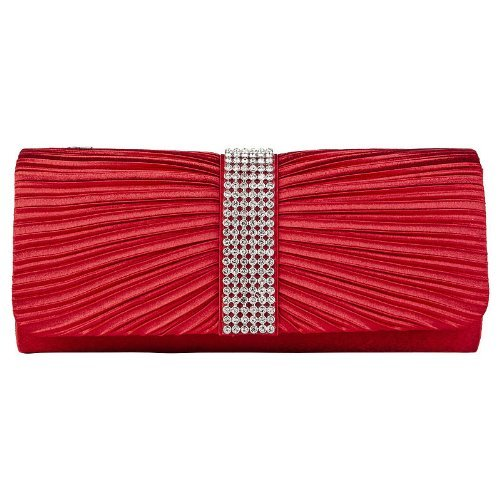Womens Satin Diamante Ladies Pleated Bow Wedding Bridal Prom Handbag Clutch Bag