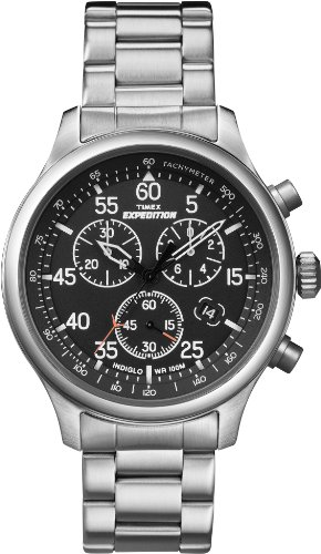 Timex Men's T49904 Expedition Rugged Field Chronograph Black Dial Silver-Tone Stainless Steel Bracelet Watch