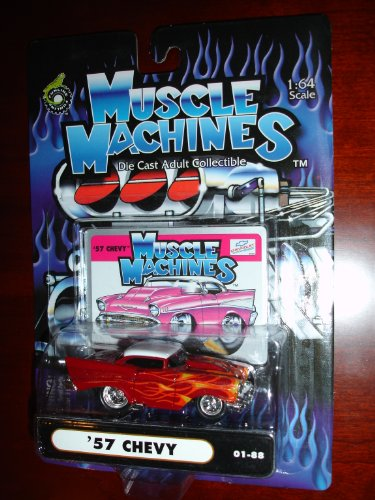 Muscle Machines 57 Chevy Burgundy w/White Top and Flames - 1