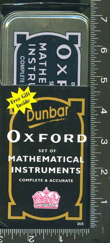 MATHEMATICAL INSTRUMENTS, DRAFTING, STUDY, 1, SET, of, DUNBAR, OXFORD, COMPLETE & ACCURATE, WITH, COMPASS, DIVERS, 2 PENCILS, 1-3.5