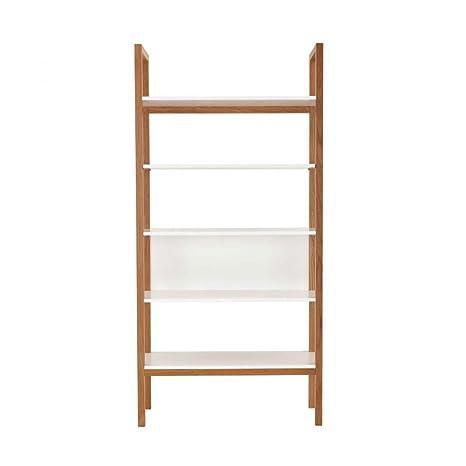 Bibliothèque design bois et blanc Farringdon - Couleur - Blanc / Chêne