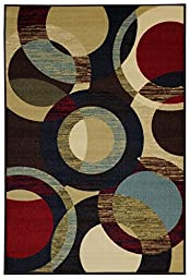 Anti-Bacterial Rubber Back AREA RUGS Non-Skid/Slip 3x5 Floor Rug | Contemporary Circles Floral Indoor/Outdoor Thin Low Profile Living Room Kitchen Hallways Home Decorative Traditional Rug