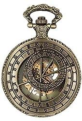 Fafada® Antique Pocket Watches Zodiac Symbol Mens Skeleton Mechanical Manual Wind Pocket Watch Roman Numeral