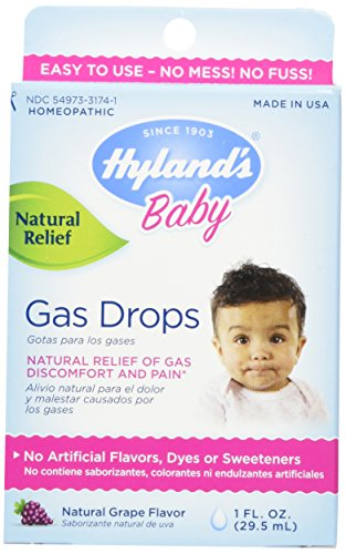 Hyland's Baby Gas Drops, Natural Gas Discomfort and Pain Relief, Natural Grape Flavor, 1 Ounce - 1