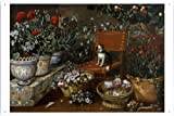 Tin Sign Metal Plate Poster of Hiepes, Tomas - Rincon de jardin con perrito, 1660-70 20*30cm by PBN