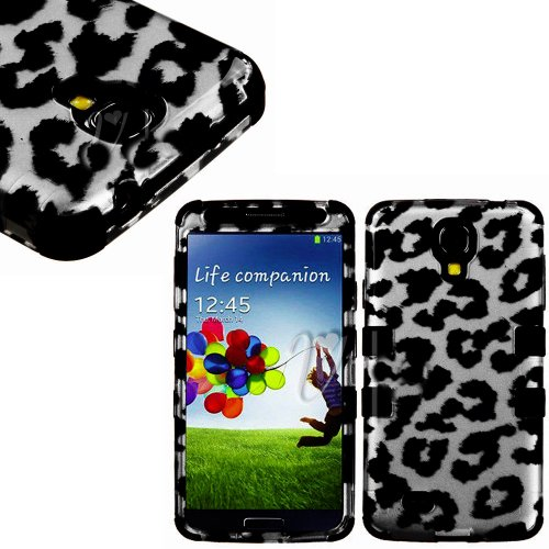 "Mylife (Tm) Black - Leopard Spots Design (3 Piece Hybrid) Hard And Soft Case For The Samsung Galaxy S4 ""Fits Models: I9500, I9505, Sph-L720, Galaxy S Iv, Sgh-I337, Sch-I545, Sgh-M919, Sch-R970 And Galaxy S4 Lte-A Touch Phone"" (Fitted Front And Back Solid"