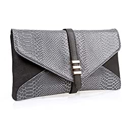 BMC Womens Slate Gray on Black Two-Toned PU Faux Leather Snakeskin Animal Pattern Envelope Flap Clutch Fashion Handbag