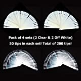 Pack of 4 - GOGOONLY 50 Clear & Off White Tips Fan-shaped Nail Art Display Chart Acrylic False Tips Practice Tool - 200 Tips in Total-BH000478