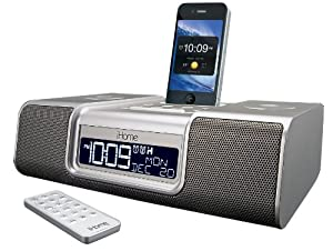 iHome iA9SZC App-Enhanced 30-Pin iPod/iPhone Alarm Clock Speaker Dock (Silver)