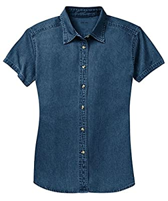 Ladies Short Sleeve Value Denim Shirts in Sizes XS-4XL