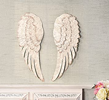 Metal angel wings wall decor
