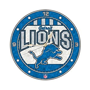 Amazon.com: Detroit LIONS 12 Inch Art Glass Clock: Sports & Outdoors