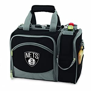 NBA Brooklyn Nets Malibu Insulated Shoulder Pack with Deluxe Picnic Service for Two by Picnic Time